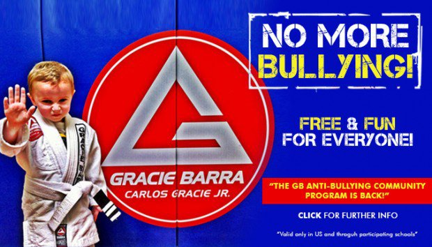 "NO MORE BULLYINGI FREE & FUN FOR EVERYONE! GRACIE BARRA ""THE GB ANTI-BULLYING COMMUNITY CARLOS GRACIE JR. PROGRAM IS BACK!"" CLICK FOR FURTHER INFO Valid only in US and throguh participating sehools"""